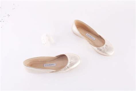 Ready Tb Flat Shoes 4 shoe gold leather ballet flats 2443201 weddbook