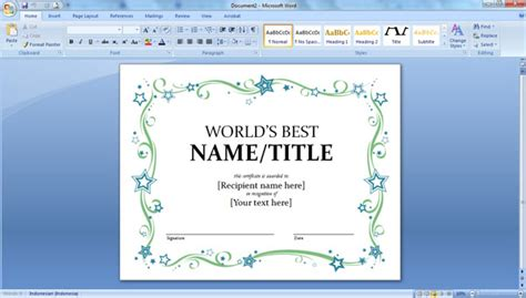 cara membuat cv di ms word 2007 cara cepat dan mudah membuat sertifikat memakai ms word
