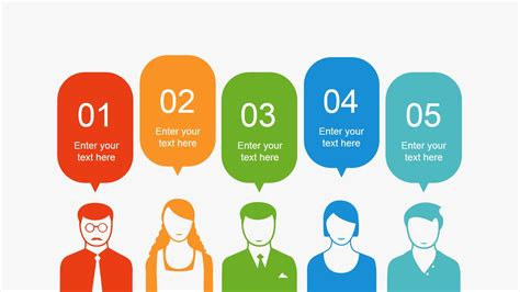 innovative templates for powerpoint 5 step people silhouettes for powerpoint slidemodel