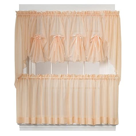 peach kitchen curtains emelia window curtain tier pairs and valance in peach