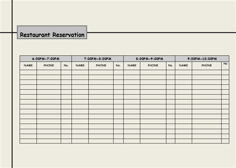 table reservation card template 2 restaurant reservation log templates excel xlts