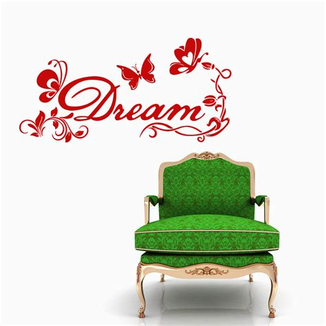 word wall stickers for bedrooms floral butterfly dream quote word wall decals by