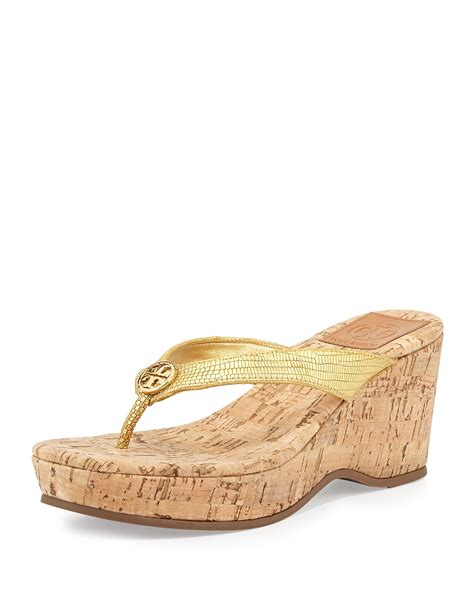 gold wedges sandals burch suzy cork wedge sandal gold in gold lyst
