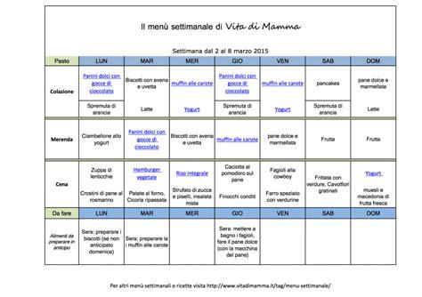 alimentazione corretta menu settimanale 249 settimanale 2 8 marzo 2015 vita di mamma