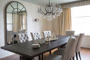 linen tufted dining chairs transitional dining room