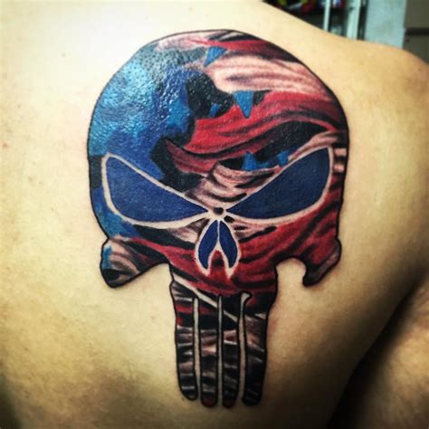 american flag back tattoos american flag skull on back shoulder