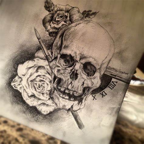 skull rose paintbrush illustration by brittany campbell