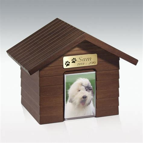 Cottage Dog House Cremation Urn Walnut