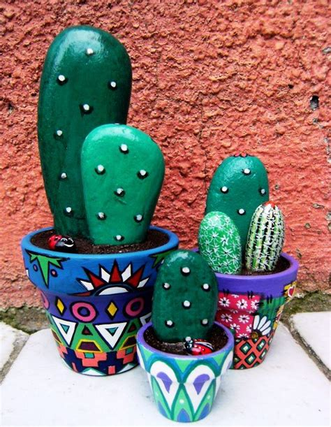 painted rock cactus pattern for home decor arts and