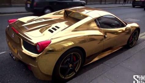 gold ferrari 458 golden ferrari 458 spider spotted in london lux pursuits