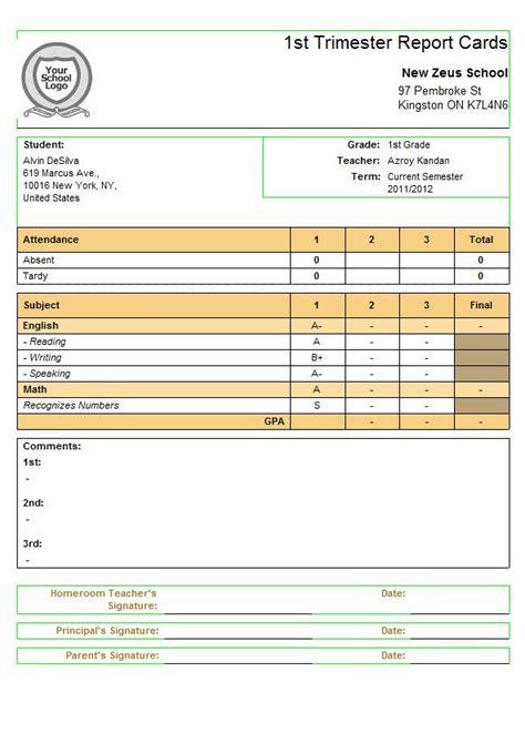 report card template subject specific criteria for quickschools report cards