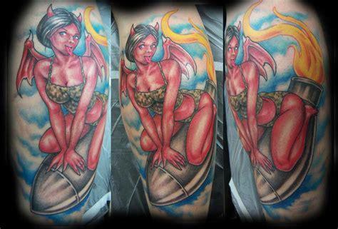 new school devil tattoo stevie monie devil girl riding a bomb tattoo