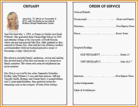funeral program format template memorial programs