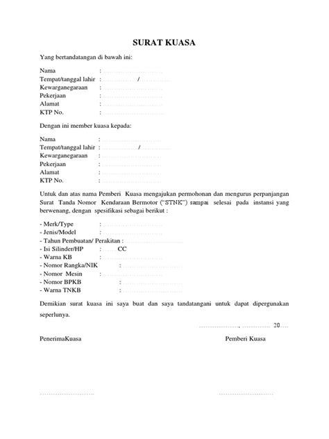 contoh surat kuasa perpanjangan stnk