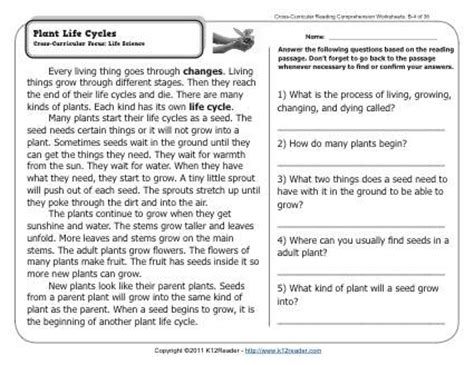 plant life cycles 2nd grade reading comprehension worksheets