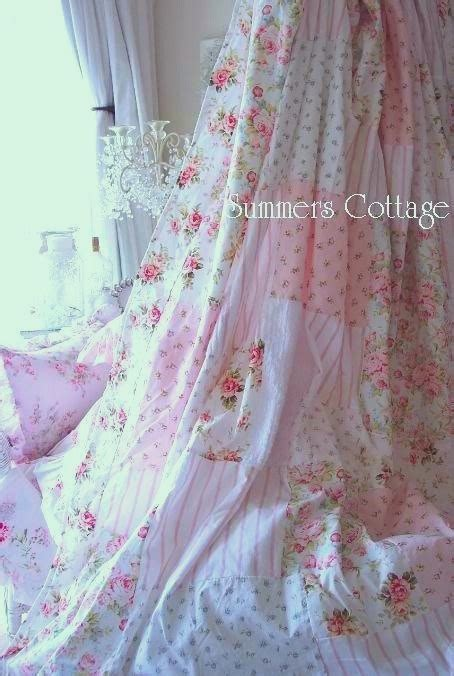 Pink Patchwork Curtains - chenille shower curtain shabby white chenille blue