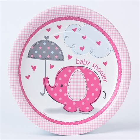 Baby Shower Paper Plates by Pink Elephant Print Baby Shower Paper Plates Pack Of 8