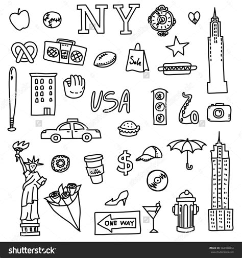 doodle new new york doodle line set elements american