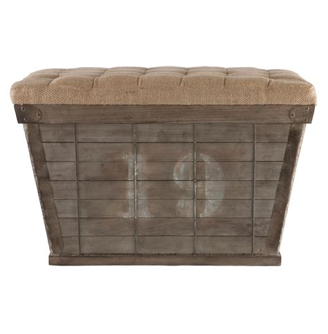long ottoman storage french country white lettering long storage crate burlap