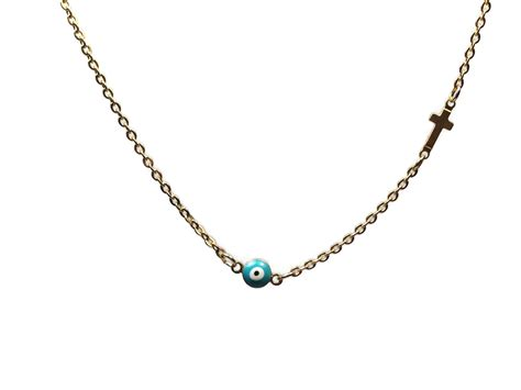 Silver Evil Eye 13 5mm Pendant evil eye cross necklace turquoise gold plated
