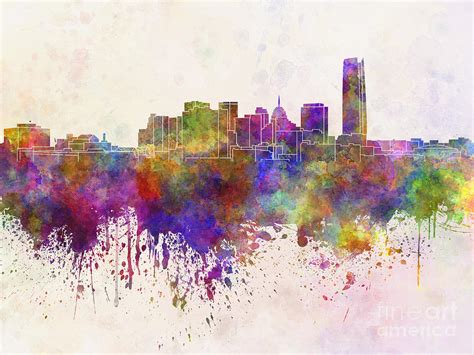 Home Decor Indianapolis oklahoma city skyline in watercolor background painting by
