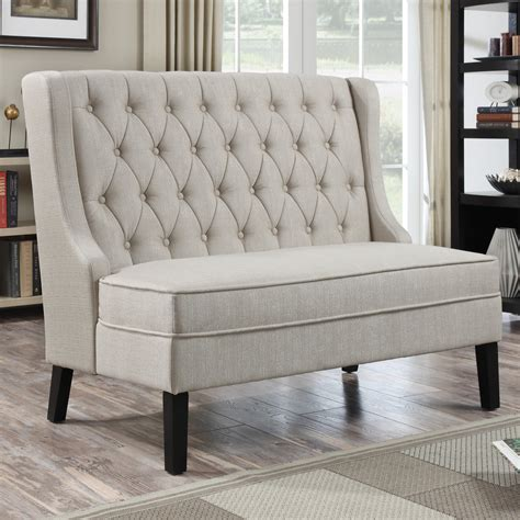 bench banquette home meridian banquette bench tuxedo oatmeal indoor