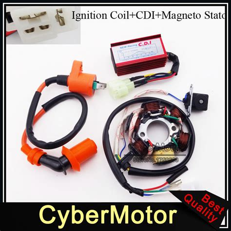 stator magneto racing ignition coil  pins wires ac cdi box  chinese gy cc engine moped