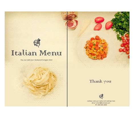 italian dinner menu card template italian menu template