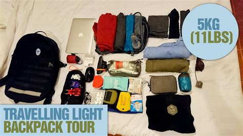 Traveling Light what to pack in a carry on 5kg 11lbs backpack packing lite