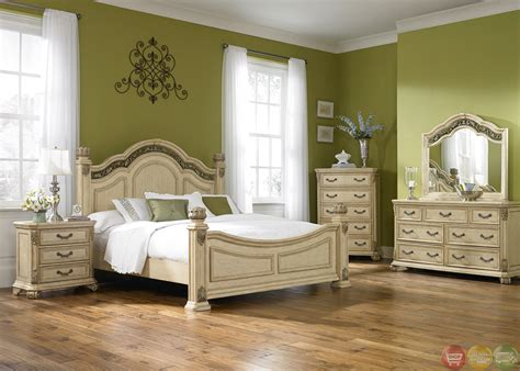 poster bed bedroom sets messina estates ii whitewash finish poster bedroom set