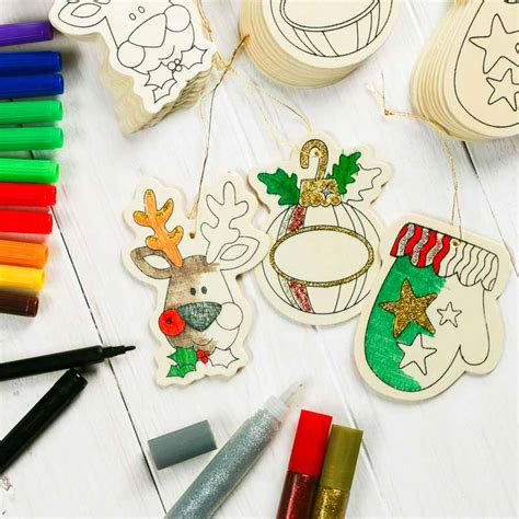 group christmas crafts wood cutout ornaments kid s activity kit activity kits crafts craft