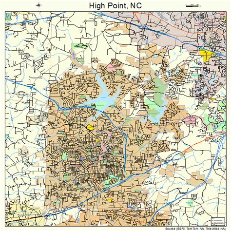 high point north carolina street map 3731400