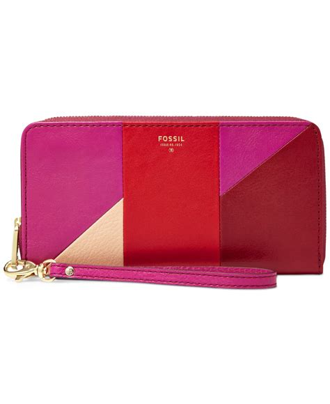Dompet Fossil Sydney Zip Clutch Multi Wallet Authentic Original Fossil Sydney Leather Patchwork Zip Clutch Wallet In
