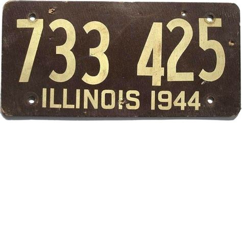 License Plate Lookup Illinois Illinois License Plate 1944 Fiberboard 733 425 From Classiclicenseplates On