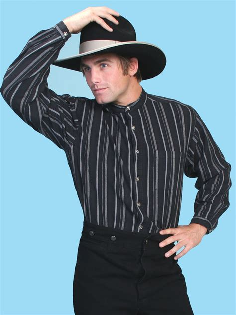 White Collar Cowboy western banded collar shirt striped western shirt