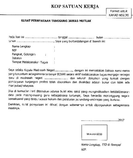 contoh surat pernyataan tanggungjawab mutlak sptjm ini jadwal pelaksanaan verifikasi pembayaran tunjangan