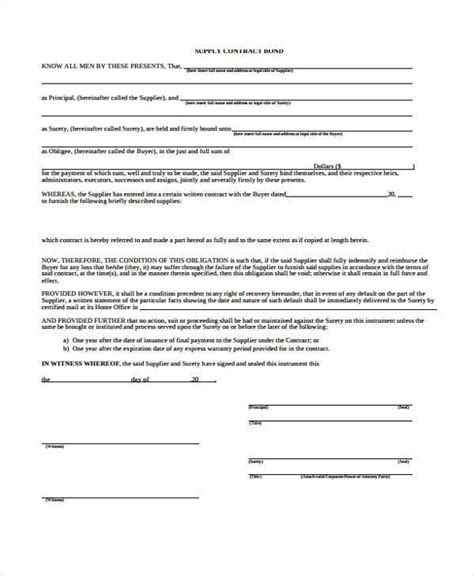 Bond Agreement Letter Format Contract Forms In Pdf
