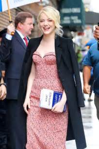 emma stone colbert emma stone seen outside the late show with stephen