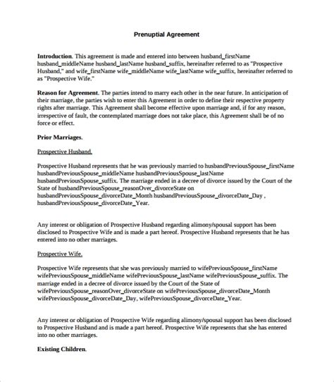 9 Sle Free Prenuptial Agreement Templates To Download Sle Templates Prenuptial Agreement Template