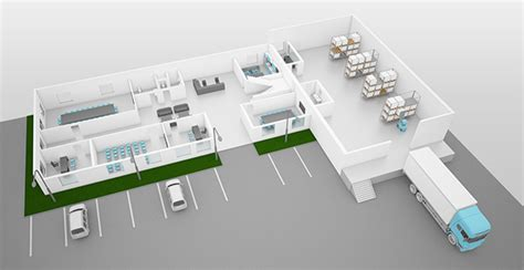Design A Warehouse Floor Plan by 3d Model Of Office Building With Warehouse On Behance