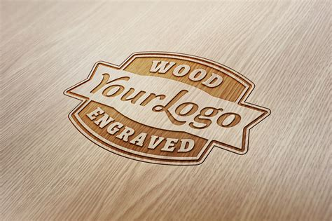 engraving logo wood engraved logo mockup graphicburger