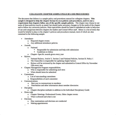 policy and procedure document template policy and procedure template 10 documents in pdf