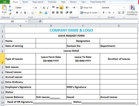 employee leave application form sle
