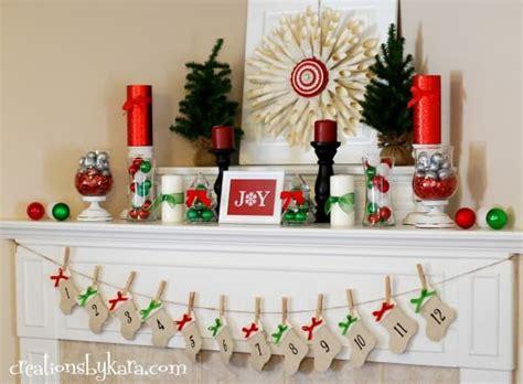 christmas diy home decor red and green christmas mantel