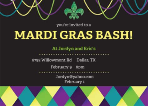 free mardi gras invitation templates template