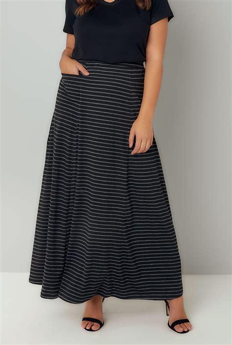 black grey stripe maxi skirt with pockets plus size 16