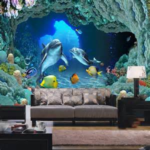 Wall Paper Mural shark picture mural 3d wallpaper for children living room photo wall