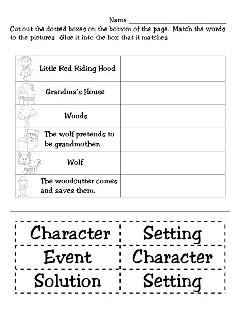 printable quiz on story elements first grade funtastic little red riding hood monthly