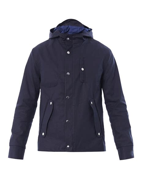 hooded cotton jacket oliver spencer waxed cotton hooded jacket in blue for