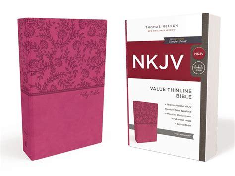 nkjv thinline bible large print imitation leather blue pink letter edition comfort print books nkjv value thinline bible imitation leather pink